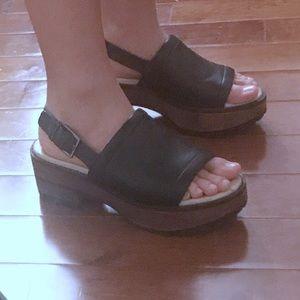 Zara Leather Wooden Platform Sandals